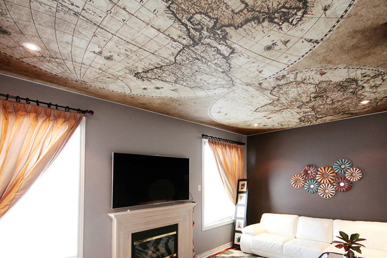 для просмотров существуют тканевые натяжные потолки с фотопечатью квартиры
